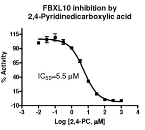 FBXL10 Inhibition curve and IC50 with BPS Bioscience FBXL10 assay via tebu-bio